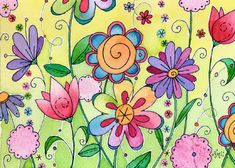 Flores Doodle Drawings, Doodle Art, Moon Cookies, Peace Pole, Flower Doodles, Motif Floral, Watercolor Cards, Painted Rocks, Flower Art