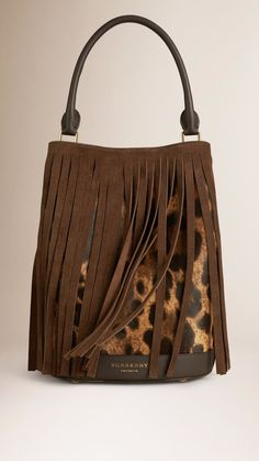 5ebca376ccc72 Burberry Bucket Bag in Animal Print with Fringing available for  2