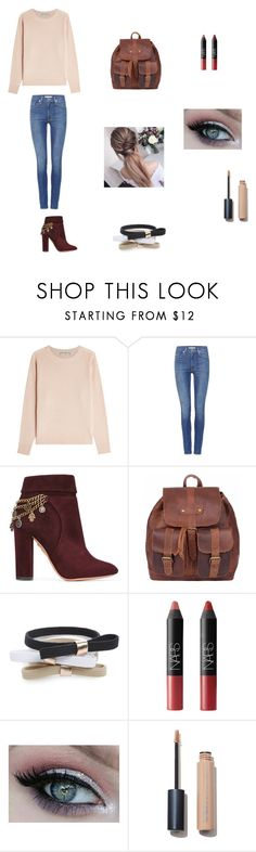 """Cuffed jeans"" by tphillips356 on Polyvore featuring Vince, Levi's, Aquazzura, L. Erickson and NARS Cosmetics"