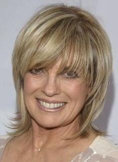 medium hairstyles over 50 - Linda Grey layered haircut for shoulder length hair by lynn
