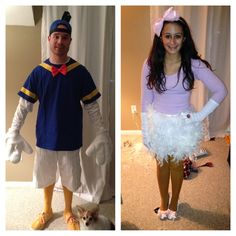 Homemade Donald & Daisy Duck! Donald-bought a blue hat, wrapped the bottom of the hat with black tape and a feather. Yellow tape and bow tie for the shirt. Gloves from Halloween store, yellow socks from Sporting store and YELLOW shoes from Marshalls!! Daisy-pink bow headband from the Childrens store, white gloves, made the skirt out of feather boas, yellow tights, and wrapped a pair of heels with baby pink ribbon and a hot glue gun. Also wore pearls the night of :)