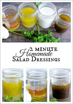 Each of these salad dressings take just a couple minutes to make!  You'll never buy jarred again!  Healthy, all natural, from scratch ingredients!