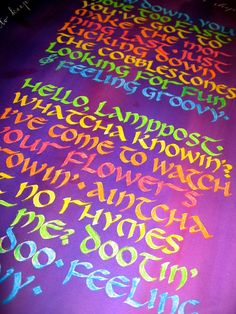 Feeling Groovy - calligraphy and painting with acrylic inks on watercolor paper - 22x30 on Etsy, $150.00