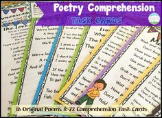Poetry Comprehension Task Cards! 18 Original Poems and 72 Comprehension Task Cards to work on poetry comprehension skills!$