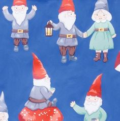 CHRISTMAS FABRIC Gnomes in the Snow Tea Dye Brights by GlamFabrics
