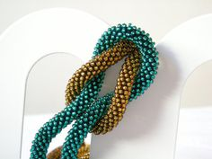 Bronze Necklace Beaded Crochet. Made to Order by Luthopika on Etsy