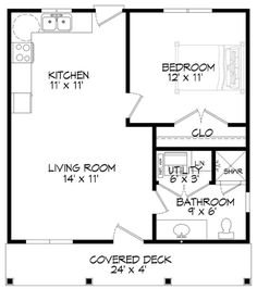 Small Plan: 561 Square Feet, 1 Bedroom, 1 Bathroom - 940-00022 Pool House Plans, Small House Floor Plans, Simple House Plans, Small Bathroom Floor Plans, Simple Floor Plans, Bathroom Ideas, Granny Pod, Granny Flat, Shed To Tiny House