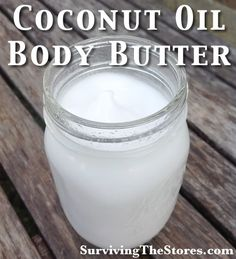 coconut oil body butter~coconut Oil (I use 1 cup for a small mason jar)~essential oils of your choice (http://www.survivingthestores.com/coconut-oil-body-butter.html uses a mix of lavender and lemon)♥Put the coconut oil in mixer with whipping attachment♥    Mix at the highest setting for about 10 minutes (or until it is whipped very very well)♥Towards the end of the process, add in your drops of essential oils♥
