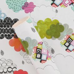 clouds 3m roll wrapping paper from Paperchase