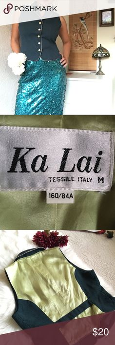 KA LAI Tessile Italy Green Vest - Size M Beautiful Forrest green vest with 5 golden buttons. Looks great worn with blue skirt. Can be worn with white long sleeve shirt underneath and Forrest green worn pants. Excellent condition. Ka Lai Jackets & Coats Vests