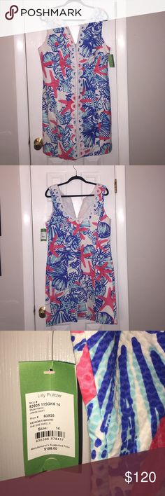 "NWT Size 14 Lilly Pulitzer Janice Shift NWT, Janice Shift, ""She She Shells"" Lilly Pulitzer Dresses Mini"