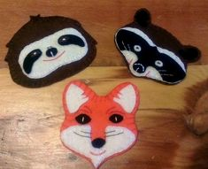 Free Felt Patterns for Cute Animals Template - a raccoon, a super cute sloth, and a fox
