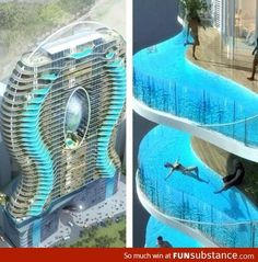 Zwembalkons in Mumbai, each room has its own pool