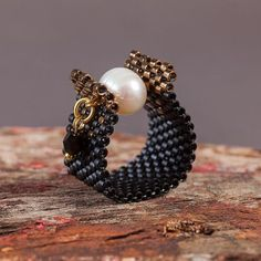 Black and Pearl Beaded Ring Peyote Pearl Ring Handmade Beaded Ring Natural Pearl Ring Made in Greece Handmade Ring Gift for her – Jewelery Seed Bead Jewelry, Bead Jewellery, Beaded Jewelry, Jewelery, Handmade Jewelry, Handmade Items, Jewelry Patterns, Bead Earrings, Beaded Bracelets