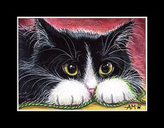 Aceo limited edition print original tuxedo cat knitting painting anne marsh