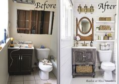 See how one blogger maximized space in her small bathroom by replacing clutter with clever DIYs.
