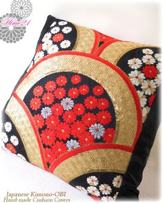 Vintage Japanese Kimono-OBI--pillow case, cushion cover, silk cushion,sofa bedding,embroidery gold,black,red--Made in Japan 001 by Hime21 on Etsy