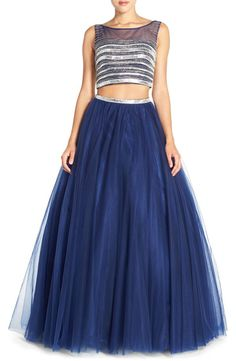 JVN BY JOVANI JVN by Jovani Embellished Top & Mesh Two-Piece Ballgown available at #Nordstrom