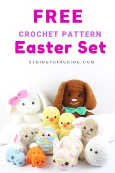 Crochet lots of cute Easter amigurumis with this free crochet pattern set! Crochet lots of cute Easter amigurumis with this bundle of free patterns! Visit our site to make them now. Crochet Rabbit Free Pattern, Easter Crochet Patterns, Animal Sewing Patterns, Crochet Amigurumi Free Patterns, Stuffed Animal Patterns, Free Crochet, Homemade Toys, Crochet Projects, Baby Wraps