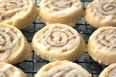 Cinnamon Roll Cookies ~ Heat Oven to 3501/2 cup powdered sugar 3/4 cup (1 1/2 sticks) unsalted butter 1/2 tsp salt 1 1/2 tsp vanilla extract 1 1/2 cups all purpose flour 1/4 cup granulated sugar 1 1/2 tsp cinnamon 1 large egg white  1 T water