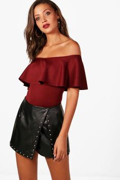 5631a37acd0f56 Tall Millie Off The Shoulder Ruffle Bodysuit Body Suit Outfits, Off  Shoulder Blouse, Off. Boohoo NA