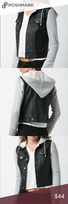 🆕Joey Mixed Media Jacket Cute for those casual days.   Features:  Detachable hoodie Button from closure Jackets & Coats