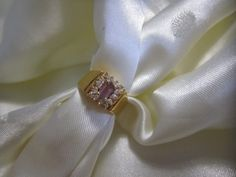 Lilac Amethyst Ring 10ct Gold Plated Vintage Ring 1970s-1980s Size Six 14 White Sapphires Emerald Cut Stone by LAmourDAntique Newly listed Vintage Fashion