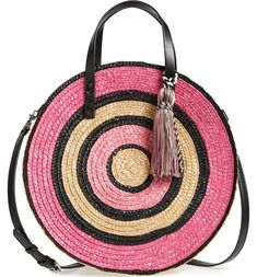 dae072bf4 GABRIELLE'S AMAZING FANTASY CLOSET | Rebecca Minkoff's Tonal Pink and White  Woven Straw Circle Tote