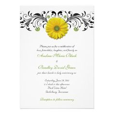Yellow Gerber Daisy Floral Wedding Invitation