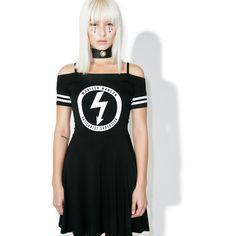 Killstar Gloom Bardot Cheerleader Dress ($68) ❤ liked on Polyvore featuring dresses, flared dresses, off shoulder dress, off-the-shoulder dresses, short-sleeve dresses and strap dress