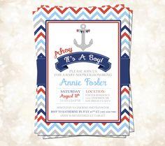 Ahoy It's A Boy Shower Invitation, Baby Shower Invitation, Nautical Baby Shower, Ahoy It's A Boy Baby Shower, Nautical Chevron Baby Shower by freemsdream on Etsy https://www.etsy.com/listing/219494508/ahoy-its-a-boy-shower-invitation-baby