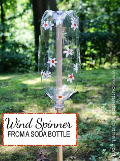 """The next time the wind kicks up in your area you may want to have one of these handy.  Or a few of them. They are """"wind spinners"""" and all you need for each one is a 2 liter soda bottle, an X-Acto knife and a dowel. If you want to spruce them up a bit paint some fun designs on them! We'll show you exactly how to make them and there's even a small video showing one in action!"""