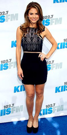 MARIA MENOUNOS  Working a sexy black Seduce mini with a fierce knuckle ring and platform pumps, the Dancing with the Stars contestant cuts a (blue!) rug at KIIS FM's Wango Tango event in Carson, Calif.