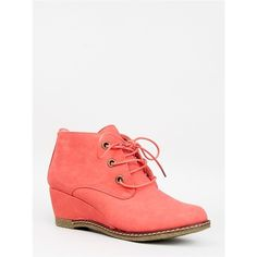 WILLOW-01 Bootie ($29) ❤ liked on Polyvore featuring shoes, boots, ankle booties, orange, vintage ankle boots, wedge bootie, short boots, wedge heel ankle boots and wedge booties