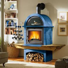 Interior, Wonderful Contemporary Nice Adorable Modern Wood Burning Stove With Blue Large Concept With Small Wood Storage Under The Stove With Mounted Chimney ~ Modern Design of Wood Burning Stove for Homes