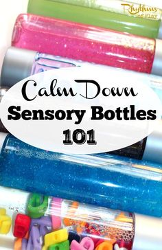 """Calm down sensory bottles are used for portable no mess sensory play, to calm an anxious child, to help children learn to meditate, and as a """"time out"""" timer. This article includes links to resources available to help learn more about their uses and how to make them."""