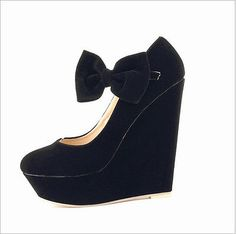 New Women's High Platform Wedge Pumps Classic Ankle Strap Bow Suede Shoes