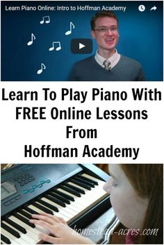 Would your children like to learn how to play the piano? Hoffman Academy has an amazing collection of FREE piano lessons! What a wonderful resource for homeschoolers or anyone wanting to learn how to play. | www.homestead-acres.com Free Piano Lessons, Music Lessons For Kids, Singing Lessons, Guitar Lessons, Guitar Tips, Keyboard Lessons, Piano Classes, Playing Piano, Online Lessons