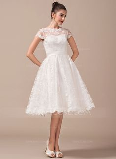 A-Line/Princess Scoop Neck Knee-Length Bow(s) Zipper Up Covered Button Sleeves Short Sleeves Beach Hall Reception General Plus No Winter Spring Summer Fall Ivory Lace Wedding Dress