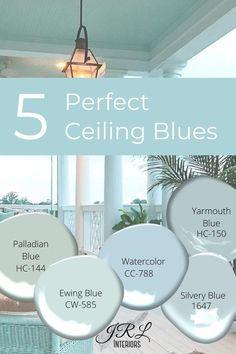 Best Blue Paint Colors, Coastal Paint Colors, Exterior Paint Colors, Paint Colors For Home, House Colors, Paint Colours, Best Ceiling Paint, Ceiling Paint Colors, Colored Ceiling