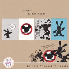 Classic Mickey Mouse Disney Cards for Project Life ([ One Velvet Morning ]) Disney Scrapbook Pages, Scrapbook Templates, Scrapbook Designs, Scrapbook Supplies, Scrapbook Cards, Project Life Freebies, Project Life Cards, Mini Albums, Classic Mickey Mouse