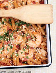 Greek Shrimp and Feta Pasta substitute whole wheat pasta