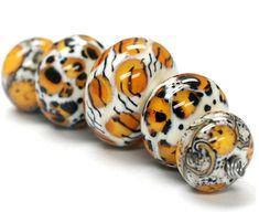 Handmade Glass Lampwork Bead Sets - Five Graduated Animal Print Rondelle Beads…