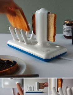 """""""George Watson's Glide toaster concept is a sculptural reinterpretation of a kitchen appliance that has basically retained its identifiable, iconic shape since it was introduced in 1893. We like this, crumbs and all, but we're hoping for the addition of auto-buttering mechanism."""""""