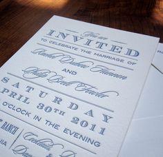 Vintage Type Letterpress Wedding Invitation by floraandfauna, $7.00