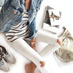 denim jacket. stripes. white ripped skinny jeans.