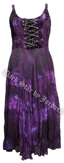 Dark Star Black and Purple Velvet Gothic Corset Long Gown [JD/DR/6250P] - $89.99 : Mystic Crypt, the most unique, hard to find items at ghoulishly great prices!