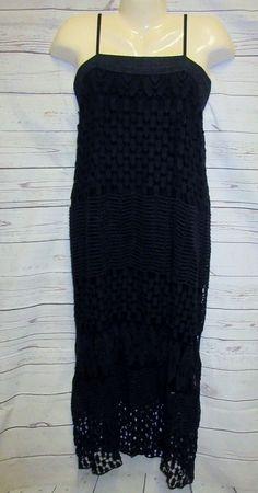 "MONORENO M 43"" Long Maxi Dress Black BoHo Crocheted Lace Skirt toofor Tall Gal  #MONORENO #MaxiShiftDress #SummerBeach"