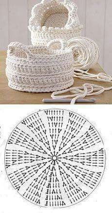 Handmade: Crochet baskets - 37 designs and . - DIY Handmade: Crochet baskets - 37 designs and . -DIY Handmade: Crochet baskets - 37 designs and . - DIY Handmade: Crochet baskets - 37 designs and . Crochet Bowl, Crochet Basket Pattern, Crochet Chart, Knit Crochet, Crochet Baskets, Crocheted Bags, Crochet Diagram, Crochet Bag Tutorials, Crochet For Beginners