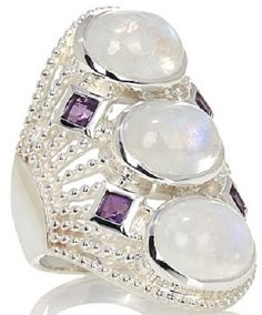 Beautiful Silver, Moonstone and Amethyst Ring by Himalayan Gems